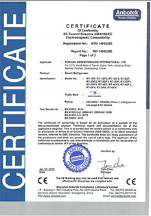CE certificate for Bench Refrigerator